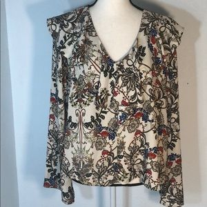 W5 Muted Toned Floral Ruffle Blouse Bell Sleeves